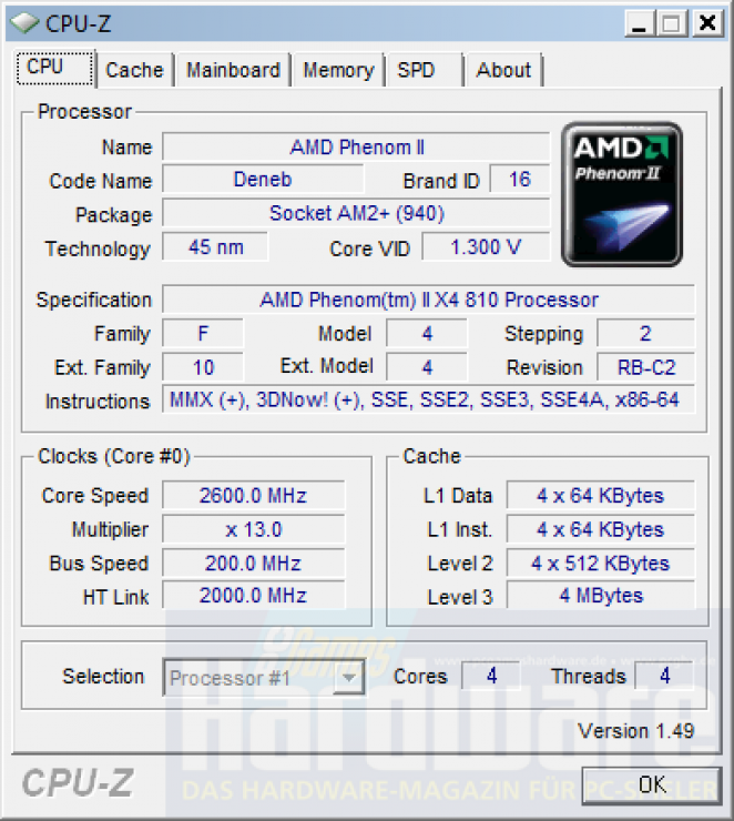 Phenom II X4 810: CPU-Z recognizes the processor but not the socket.