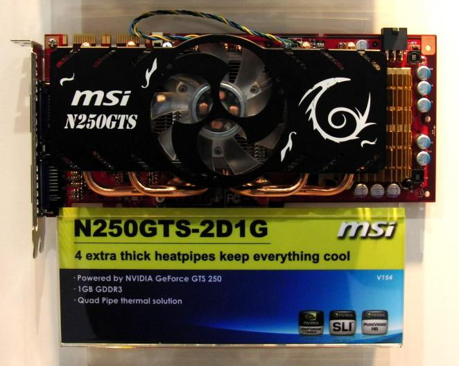 MSI's Geforce GTS 250 graphics card is labeled N250GTS-2D1G