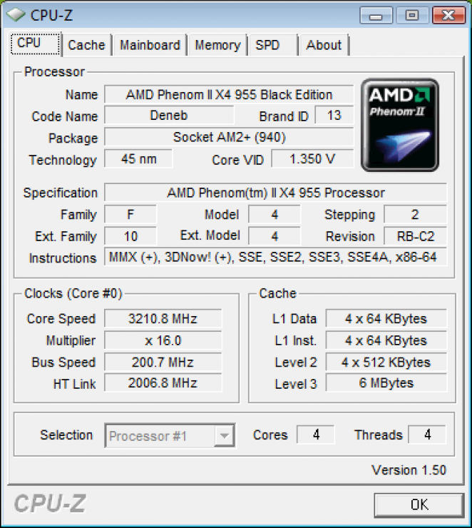 CPU-Z shot of the AMD Phenom II X4 955
