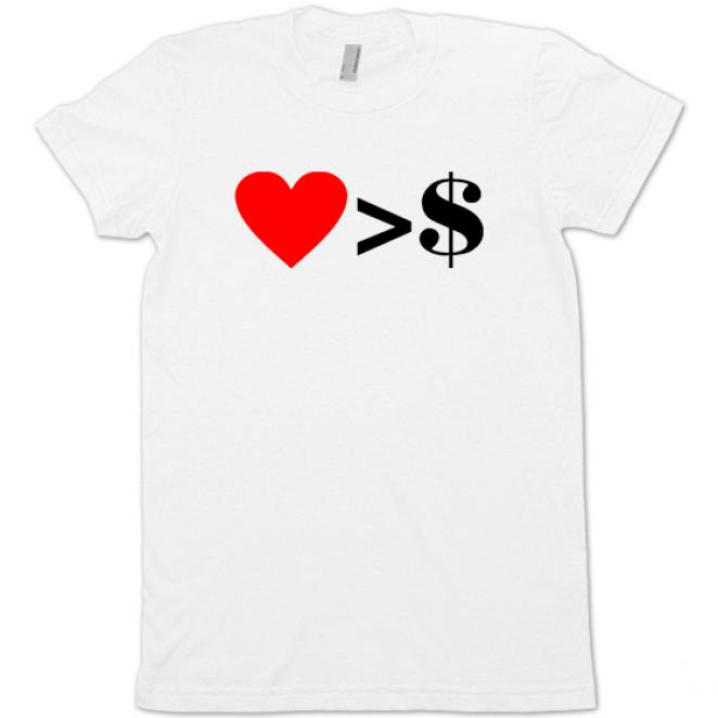 Girlieshirt 'Love>Money'