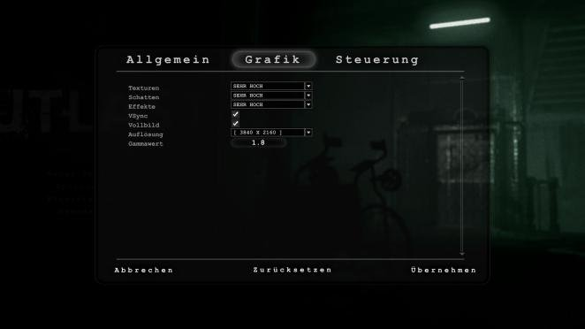 Outlast Grafikmenu