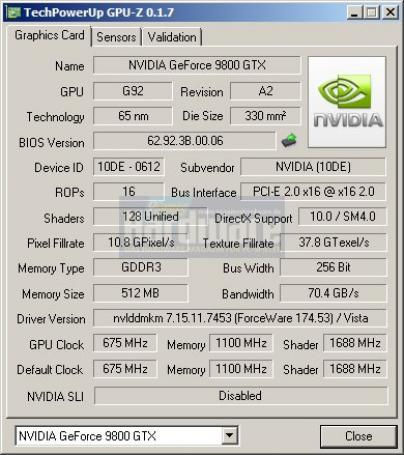 Point of View Geforce 9800 GTX: GPU-z (Bild: PCGH)
