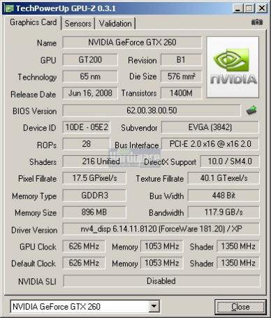 Nvidia Geforce GTX 260-216 (55nm): GPU-Z-Shot