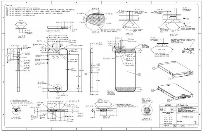 iphone 5s und iphone 5c technische zeichnungen zeigen smartphone details. Black Bedroom Furniture Sets. Home Design Ideas