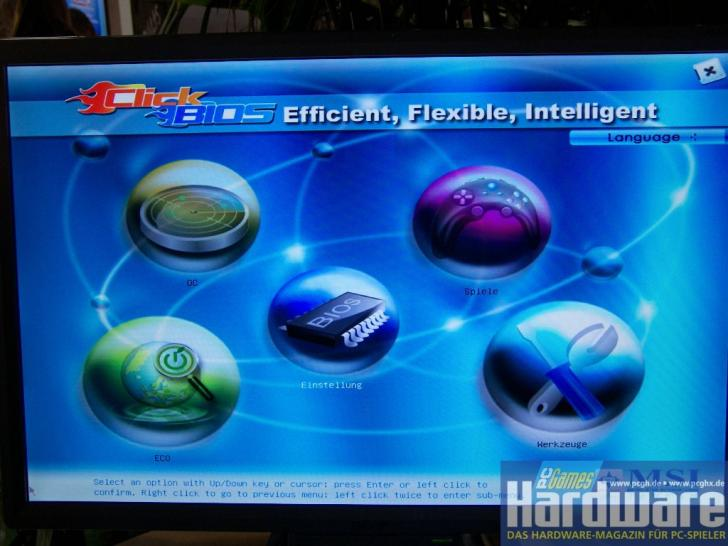 Efi: Comfortable BIOS control via mouse with additional features. (picture: PCGH)