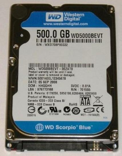 Western Digital Scorpio Blue 500GB: Two platter with 250 GByte capacity each