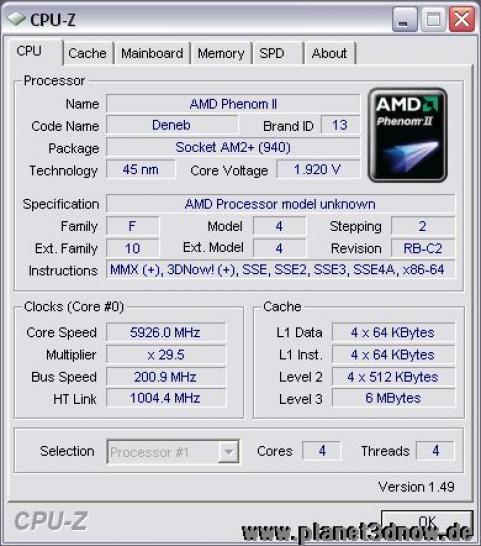 The Phenom II with more than 5.9 GHz. (picture:http://www.planet3dnow.de)