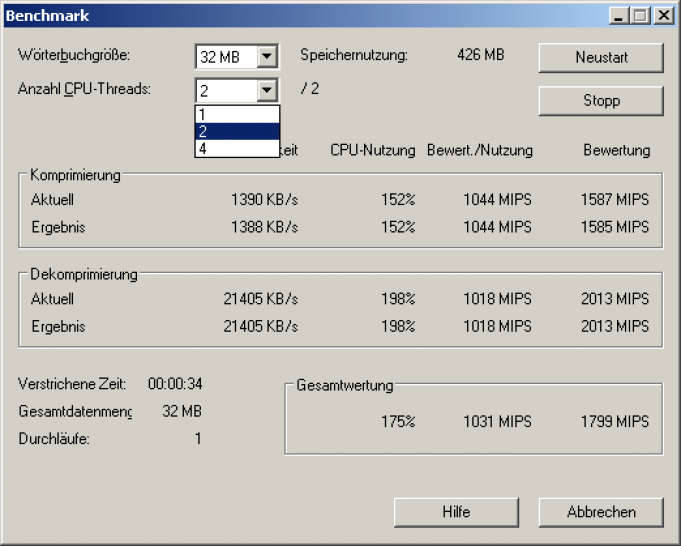 The integrated benchmark of 7-zip 4.65.