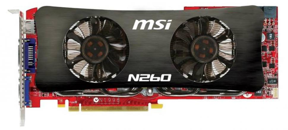 MSI N260GTX Lightning: Dual slot cooling with two fans.