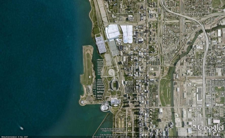 HAWX versus Google Earth: Chicago in Google Earth