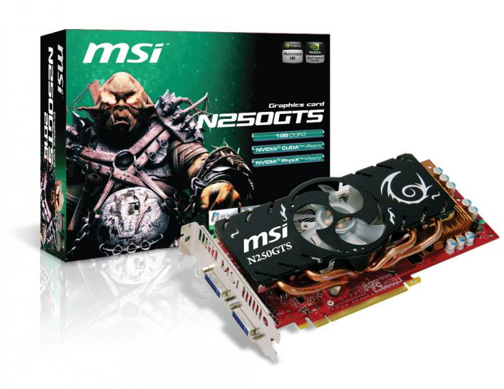 MSI N250GTS-2D1G: Geforce GTS 250 based graphics card with 1 GiByte VRAM