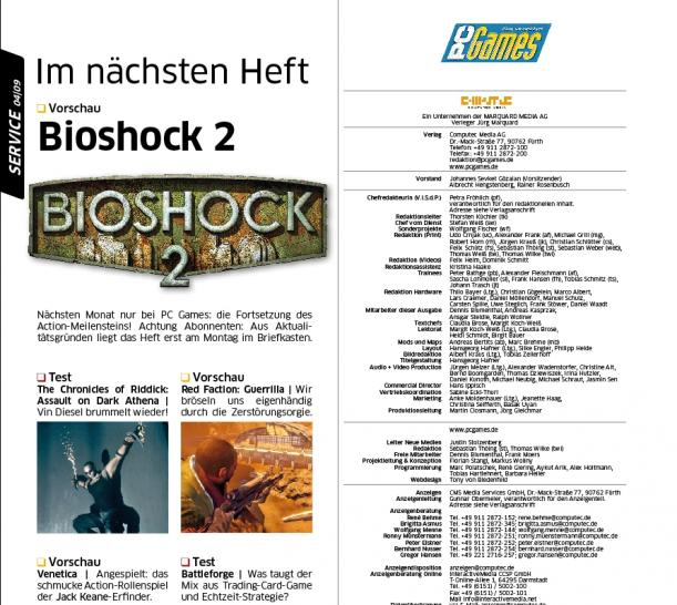 Bioshock 2 in the forthcoming PC Games