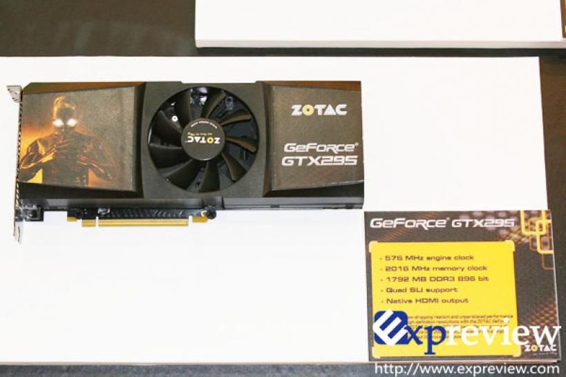 Zotac Geforce GTX 295 with single PCB layout