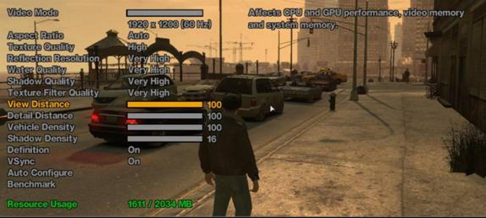 Powercolor comparison between 1 and 2 GiByte VRAM in GTA 4.