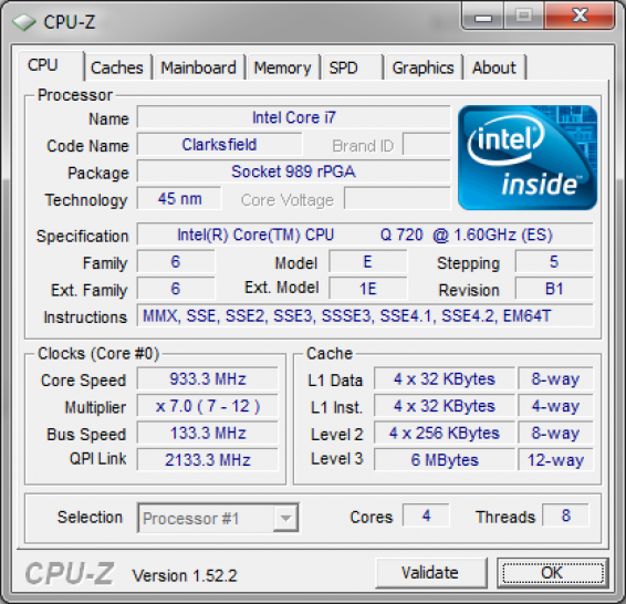 Core i7-720QM: 993 MHz in idle