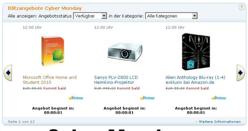 Amazon Cyber Monday: 1 Sekunde noch bis zum Start