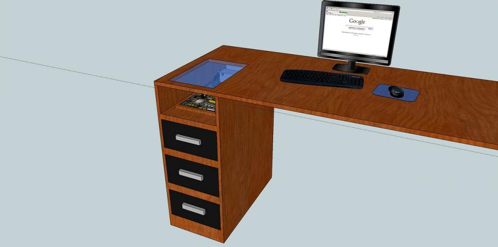 sch ner wohnen casemod der wak pc im schreibtisch. Black Bedroom Furniture Sets. Home Design Ideas