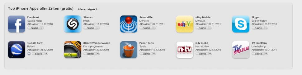 Itunes Top 10 Apps iPhone (gratis)