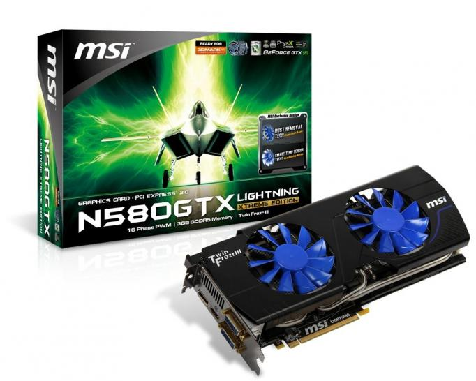 MSI Geforce GTX 580 Lightning Extreme Edition mit 3 GiByte, Dust Removal und Smart Temp Sensor Technology (0)