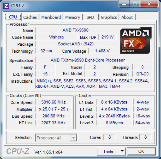 AMD FX 9590: 5 GHz in CPU-Z