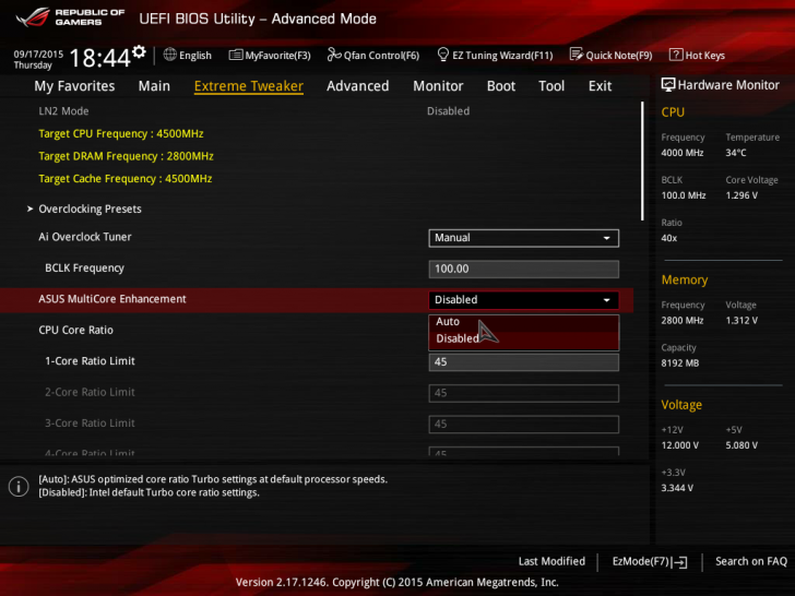 Asus Maximus 8 Hero   Multicore Enhancement