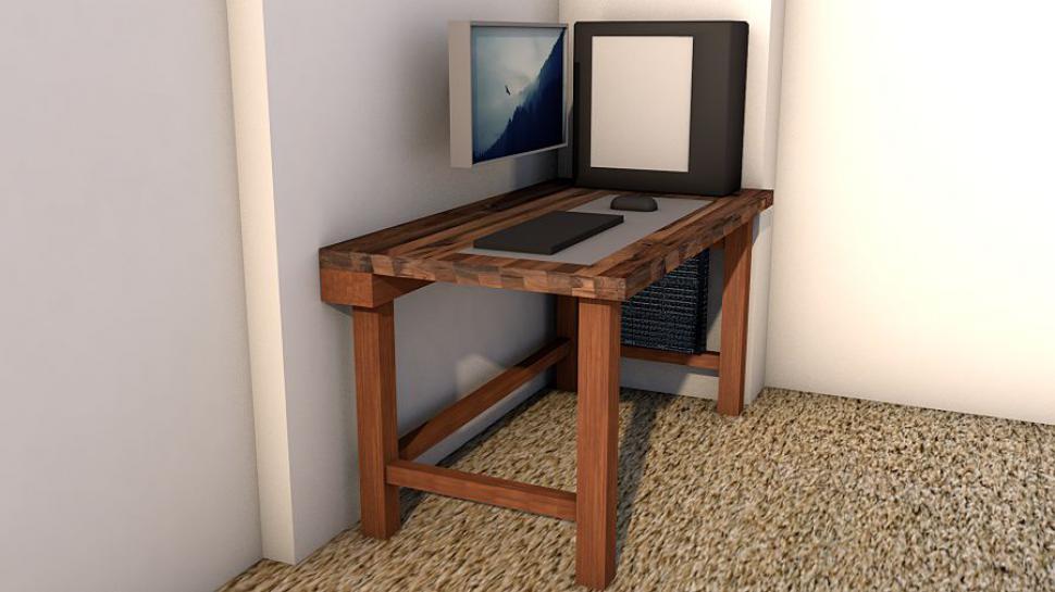 schreibtisch im eigenbau abgestimmt auf portablen wak pc. Black Bedroom Furniture Sets. Home Design Ideas