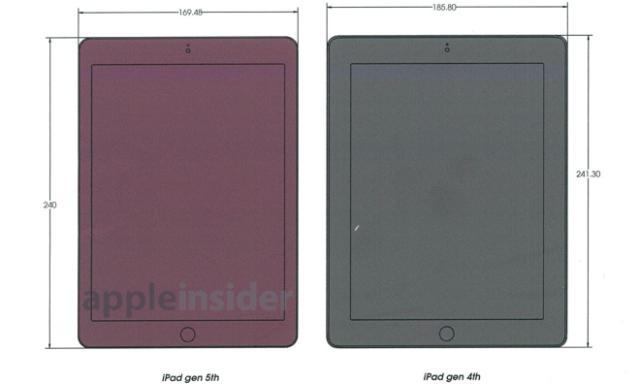 ipad 5 technische zeichnungen zeigen erneut die kleineren. Black Bedroom Furniture Sets. Home Design Ideas