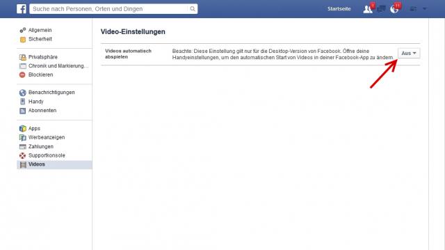 facebook video autoplay deaktivieren