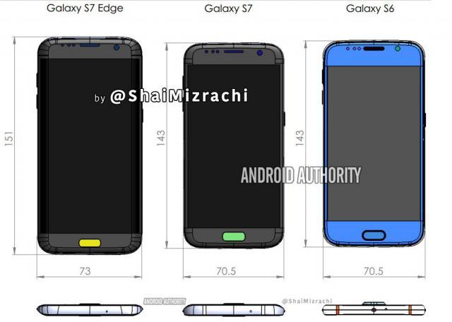 Samsung Galaxy S7 (Edge): Zeichnung Zeigt Größenvergleich