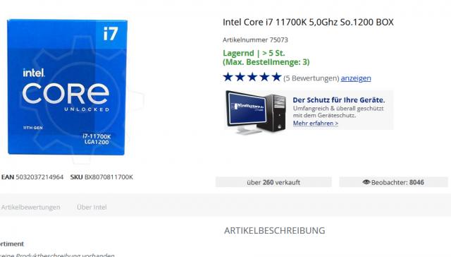 Core i7-11700K wieder lieferbar - Mindfactory startet erneut den Verkauf, Usermeinungen positiv - PC Games Hardware