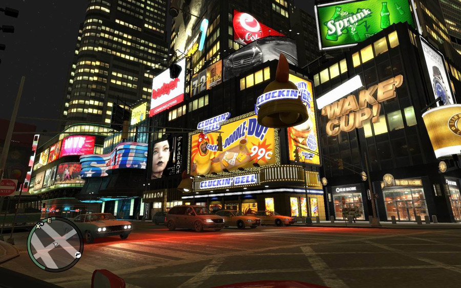 time square new york at night. Mouseover: real life New York