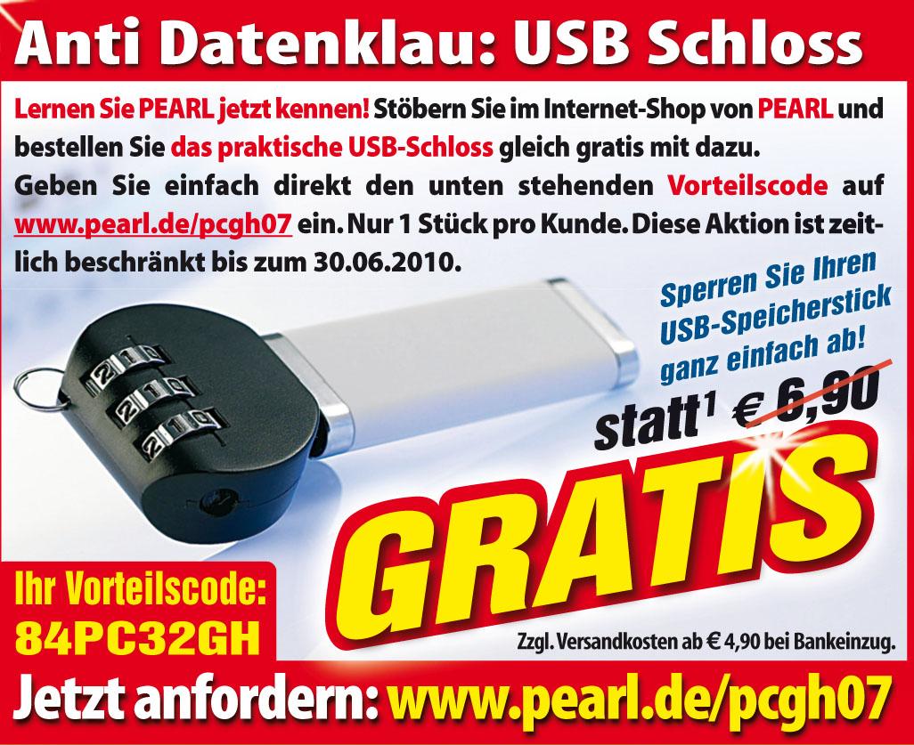 gratis für pcgh-leser: usb-schloss von pearl im wert von 6,90 euro