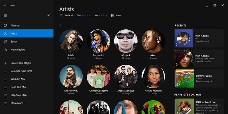 Windows 10: Neues Design der Musik-App