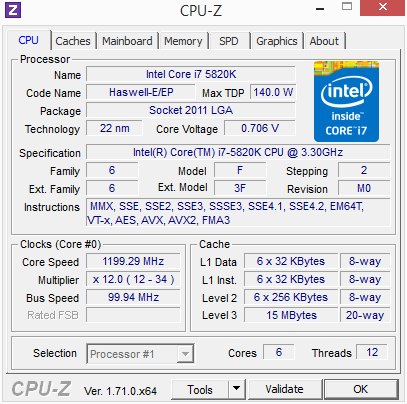 Core i7-5820K Offset Mode CPU-Z Idle