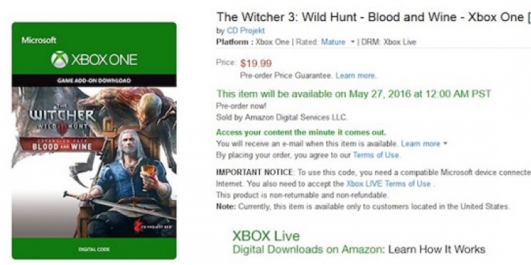 The Witcher 3 Blood and Wine: Amazon.com nennt Release-Termine (1)