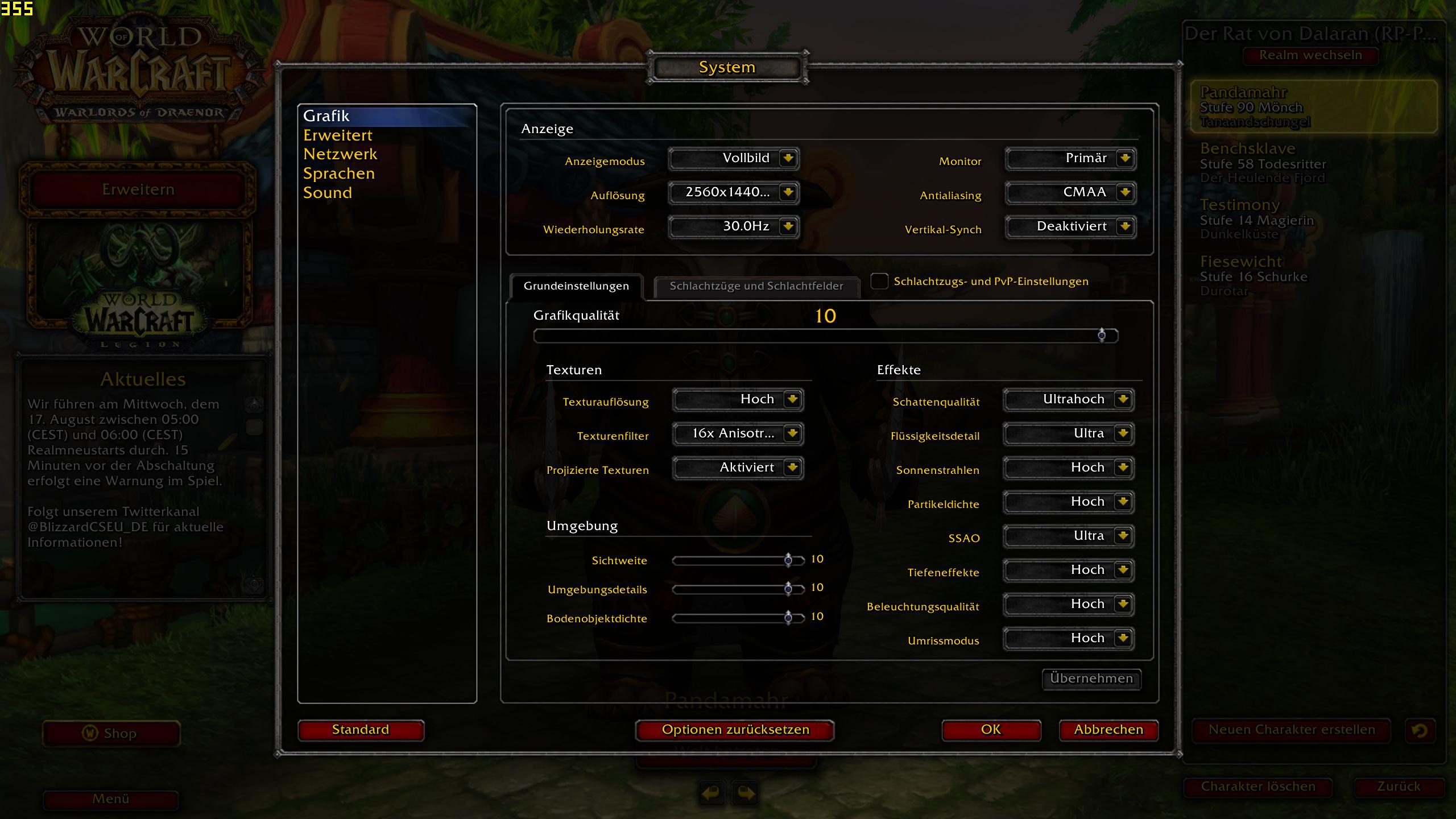 WoW 7 0 (Legion) im Test mit 25 GPUs + CPU-Skalierung